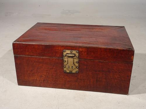 Large Early 20th Century Leather Covered Travel Trunk (1 of 7)