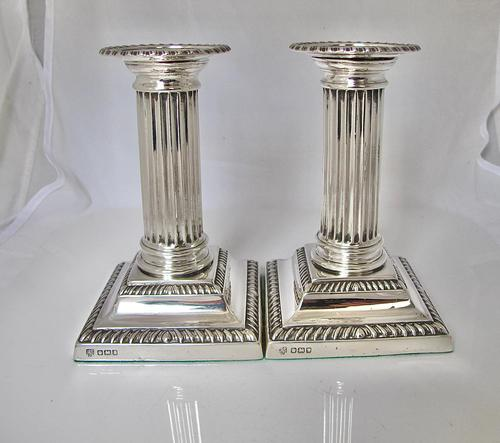 Handsome Pair of George V Silver Candlesticks Hawksworth Eyre & Co Sheffield 1915 (1 of 12)