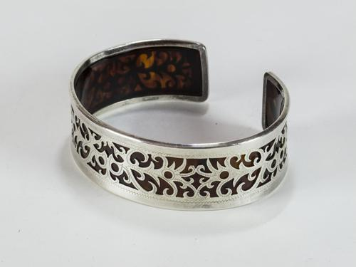 Heay Silver And Faux Tortoiseshell Cuff Bracelet (1 of 3)