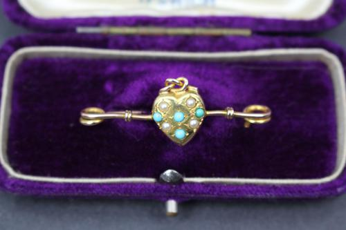 Victorian Gold Love Heart Brooch (1 of 2)