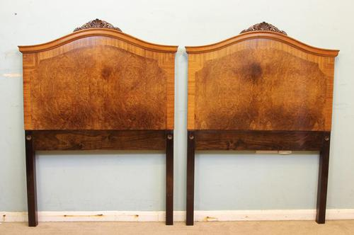 Antique Pair of Figured Walnut Single Headboards (1 of 8)