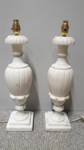 Wonderful Pair White Marble Table Lamps (1 of 5)