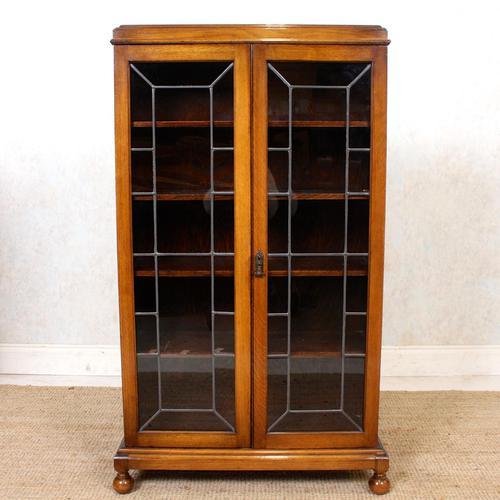 Oak Leaded Glass Bookcase (1 of 15)