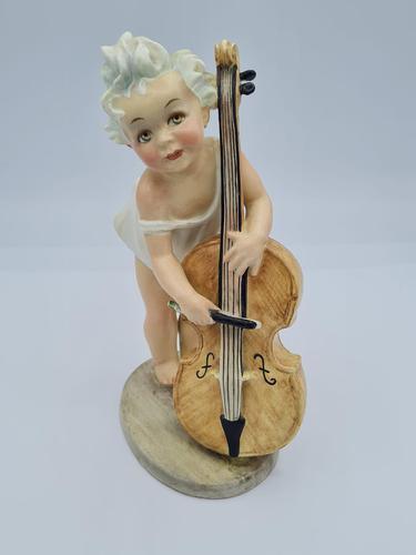 """Arturo Pannunzio """"Little Girl with Cello"""" Ceramic Figurine (1 of 13)"""