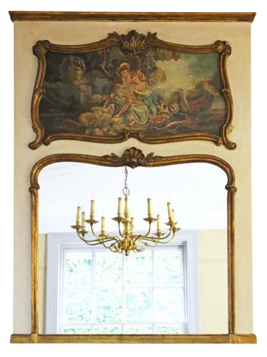 Quality Gilt Full Height Wall Trumeau Mirror c.1900 (1 of 8)