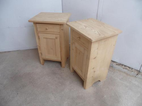 Lovely Pair of Plain Antique Pine Bedside Cabinets to wax / paint (1 of 7)