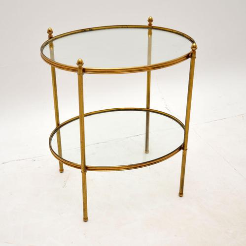 Vintage French Brass & Glass Side Table (1 of 10)