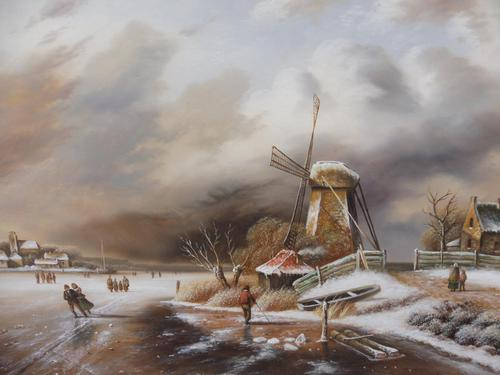 Oil on Board Dutch Landscape Artist Thomassini (1 of 10)