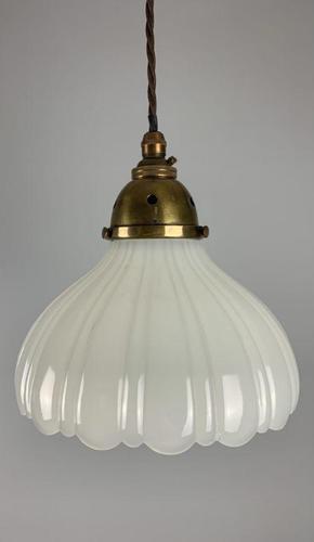 Moonstone Pendant Ceiling Light; Original Shade & Gallery; Rewired (1 of 7)