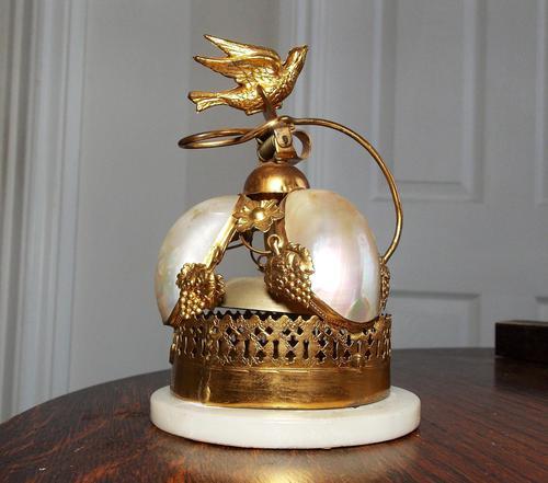 Rare 19th Century Palais Royal Gilt Dove Bird & Mother of Pearl Bell (1 of 12)