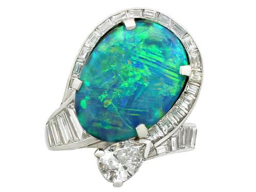 5.08ct Opal & 2.49ct Diamond, Platinum Dress Ring c.1950 (1 of 9)