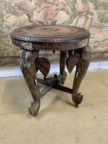 19th Century Anglo Indian Carved Elephant Occasional Table (1 of 4)