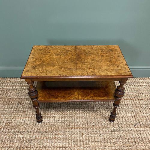 Small Figured Walnut Victorian Antique Coffee Table (1 of 5)
