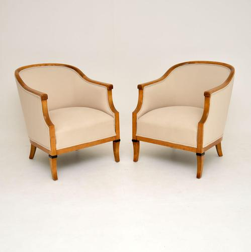 Pair of Antique Swedish Satin Birch  Armchairs (1 of 10)