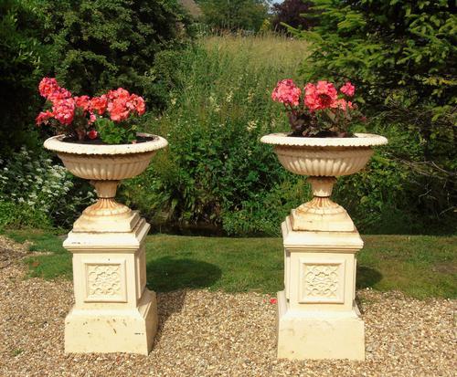 Good Pair of Victorian Campana Garden Urns on Stands (1 of 7)