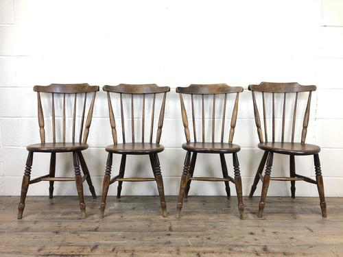 Set of Four Victorian Elm Penny Chairs (1 of 11)