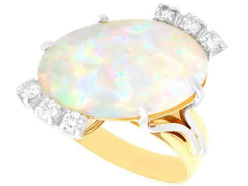 5.81ct Opal & 0.30ct Diamond, 9ct Yellow Gold Dress Ring - Vintage c.1960 (1 of 9)