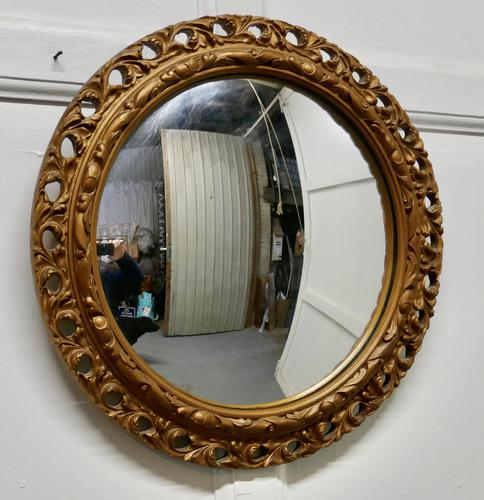 Carved Convex Gilt Wall Mirror (1 of 4)