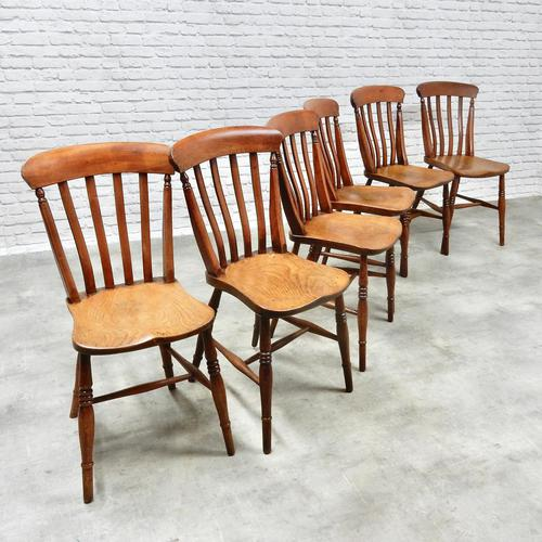 19th Century Matching Set of 6 Windsor Kitchen Chairs (1 of 6)