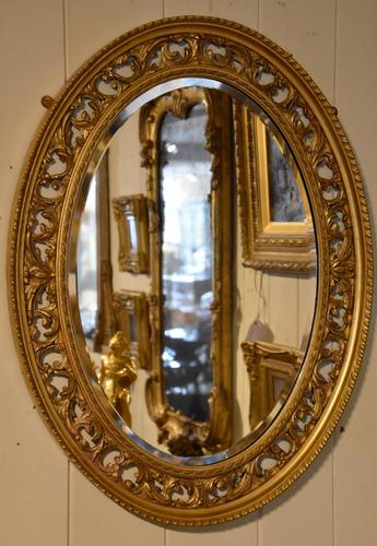 Carved Open Fretwork Giltwood Oval Mirror (1 of 3)