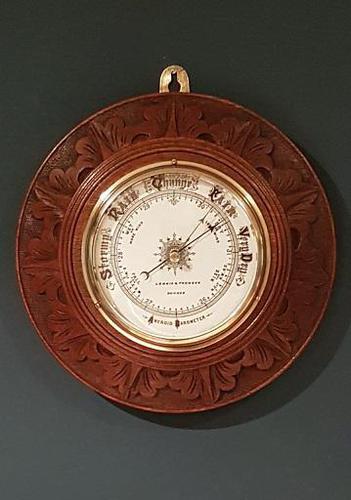 Superb Antique Oak Carved Dundee Barometer (1 of 6)