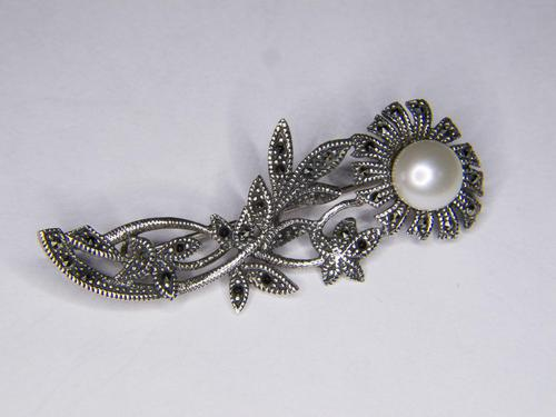 Silver Marcasite & Pearl Brooch (1 of 3)