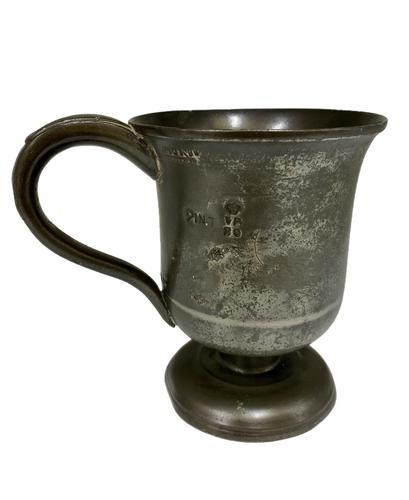 Antique Georgian Pint Pewter Tankard c.1820 (1 of 6)