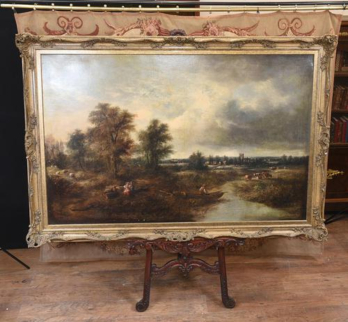Victorian Oil Painting English Norfolk Landscape Rustic c.1860 Arcadia (1 of 17)
