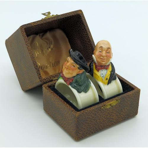 Extremely Rare Pair of Royal Doulton Dickens Napkin Rings in Original Box 1920 (1 of 8)