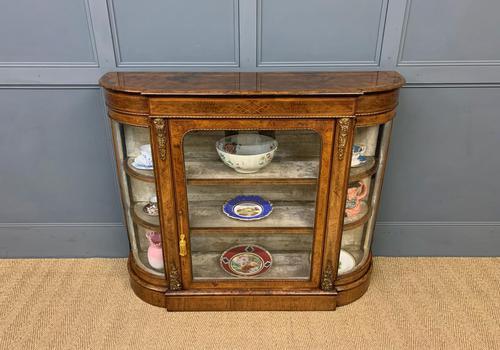 Victorian Burr Walnut Glazed Side Cabinet (1 of 15)