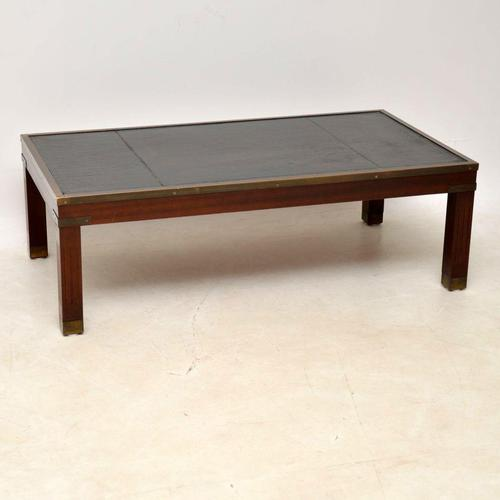 Antique Mahogany & Leather Campaign Style Coffee Table (1 of 9)