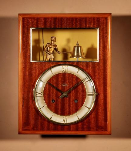 French Mahogany & Satinwood Signed Odo Automation Striking Wall Clock (1 of 5)