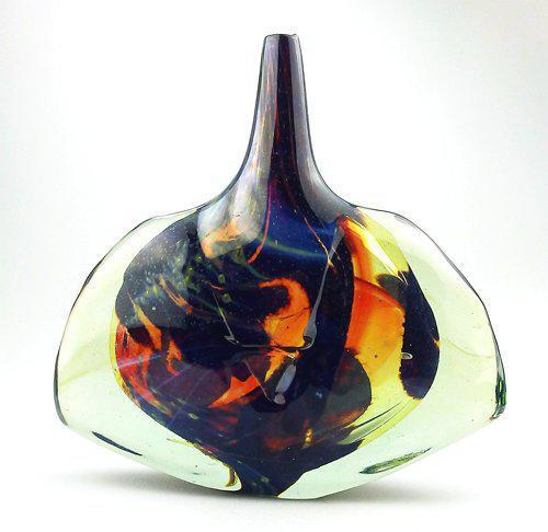 Good Maltese Mdina Art Glass Fish / Axe Head Vase Signed Dobson c.1978 (1 of 6)