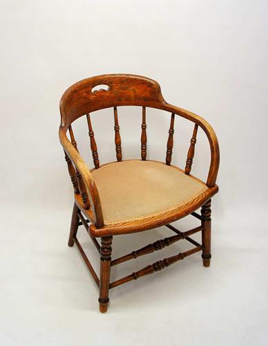 Edwardian Oak Upholstered Tub Chair (1 of 18)