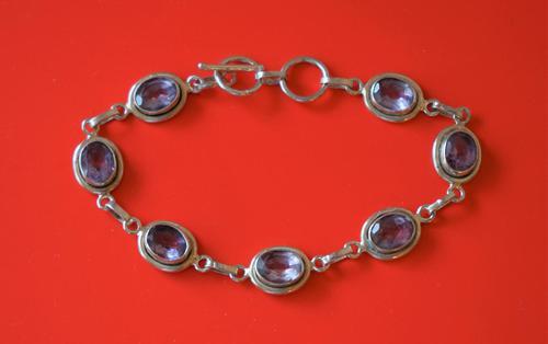 Old 925 Sterling Silver Amethyst Gem Set Link Bracelet - Boxed (1 of 8)
