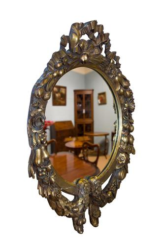 Continental Carved Giltwood Circular Wall Mirror c1900 (1 of 6)