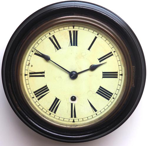 Rare W&H 7 Inch Dial Wall Clock Ebonised Case Dial Clock Station Clock (1 of 12)