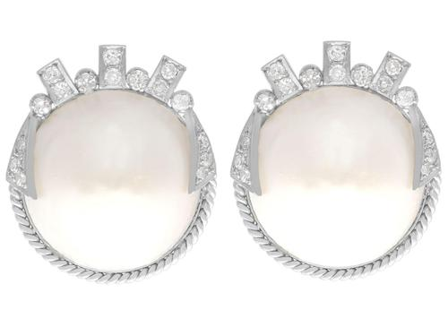Mabe Pearl & 0.78ct Diamond, 9ct White Gold Earrings - Art Deco Style - Vintage c.1950 (1 of 9)