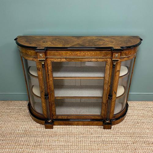 Sensational Figured Victorian Walnut Antique Credenza (1 of 9)