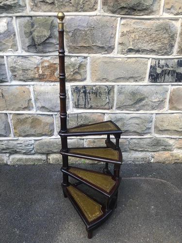 Antique Mahogany Library Steps (1 of 7)