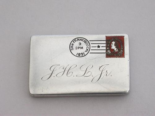 Victorian Patented American Sterling Silver & Enamel Envelope Form Double Stamp Case (1 of 8)