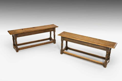 Pair of George I Oak Long Stools (1 of 4)