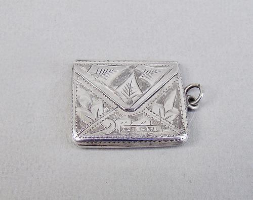 "Edwardian silver ""envelope"" stamp case by Albert Ernest Jenkins, Chester 1903 (1 of 6)"