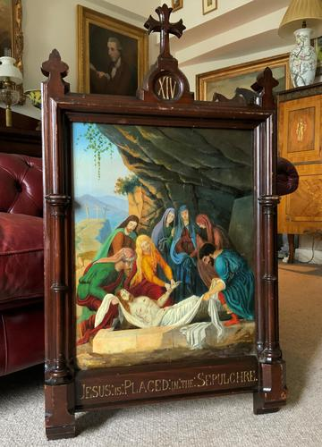 Superb 19th Century Old Master Biblical Jesus Religious Oil Painting - Gothic Oak Frame (1 of 14)