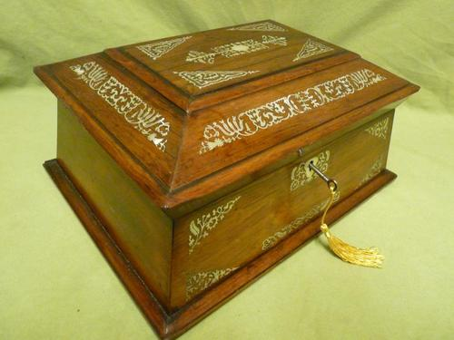 Large Inlaid Rosewood Jewellery / Table Box c.1835 (1 of 12)