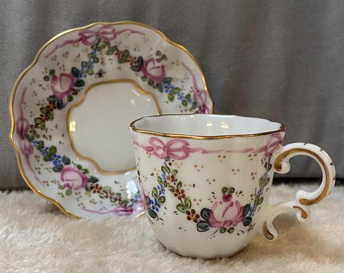 Limoges Hand Painted Cup and Saucer With Swag And Floral Decoration (1 of 4)