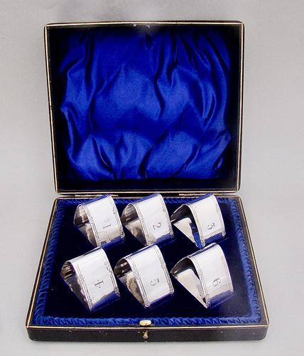 Cased Set of Six Edwardian Silver Plated Numbered Napkin Rings (1 of 5)