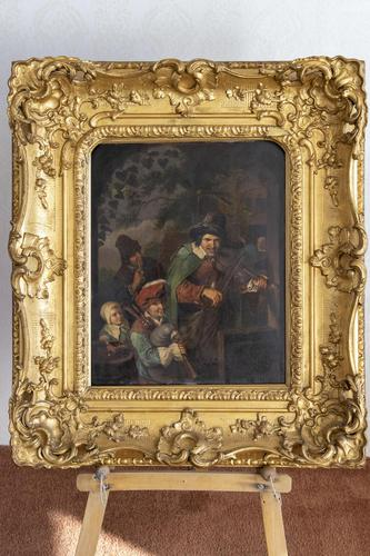Antique Oil Painting on Zinc Panel (1 of 3)