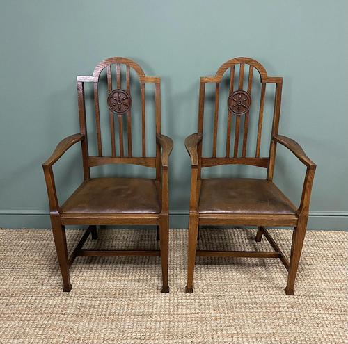 Unusual Pair of Edwardian Oak Carver Chairs by JAS. Shoolbred (1 of 8)