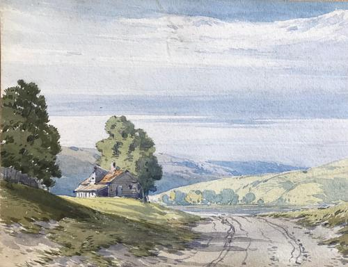 Original watercolour 'Cottage in a landscape (Lake District?)  by John Callow 1822-1878. Initialled verso (1 of 4)